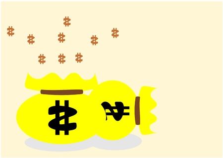 burlap bag: Two burlap money bags for your design Illustration