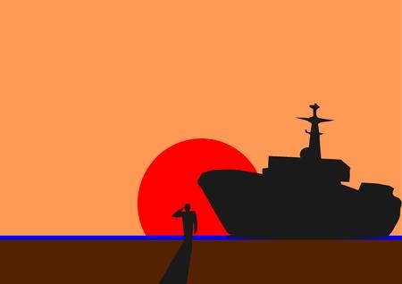 салют: изображение мультфильма стоять и салют с корабля Иллюстрация