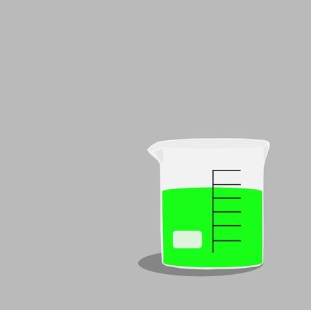 liquid: Beaker with green liquid chemical