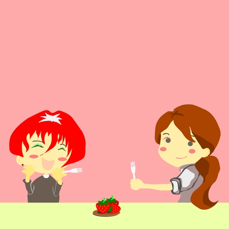 two office woman happy with strawberry on the table Vector