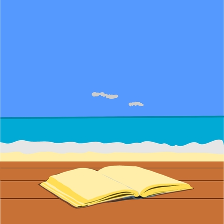 wood table: the old open blank book on wood table with sea and sky