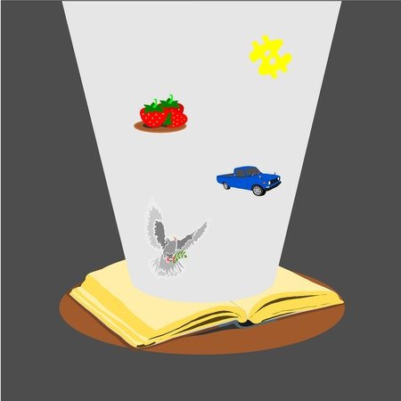 the old open book with story Vector