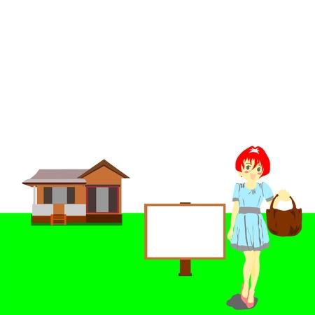 Huis met billboard en vrouw voor uw ontwerp