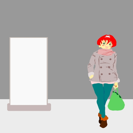 blank board: Woman shopping with blank board for your design