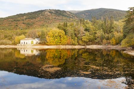 House by the lake at Granja San Ildefonso Segovia Spain Stock Photo