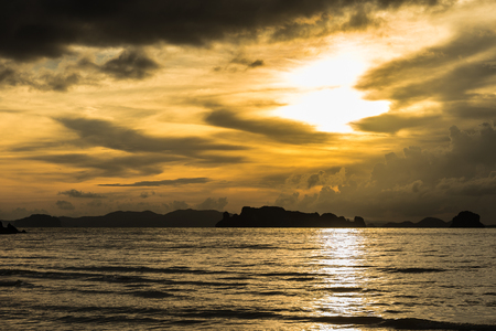 Brown sunset at Ao Nang Beach, Krabi, Thailand