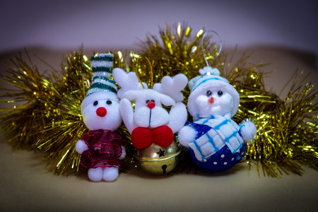 Christmas Ornament, Stuffed Snowman, Reindeer with rattle