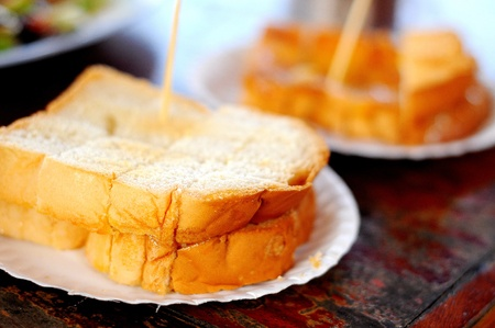 buttered: Buttered bread.