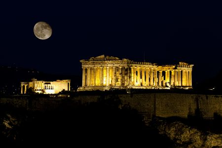 athens: Longexposure nightshot of Parthenon in Athens, bathed in moonlight...