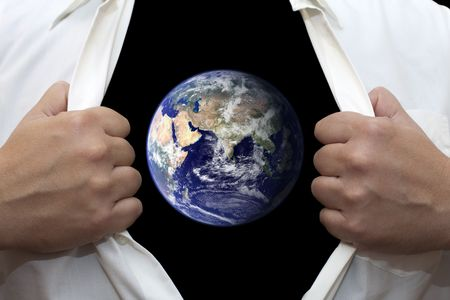 Man opening his white shirt with both hands, and reviels the earth. The idea that we are the earth.