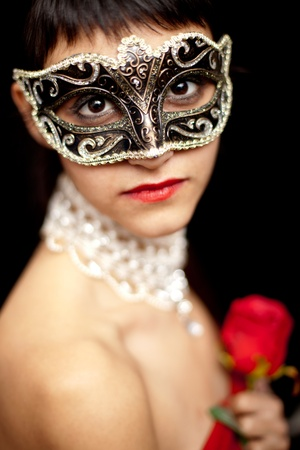 Woman wearing a mask  photo