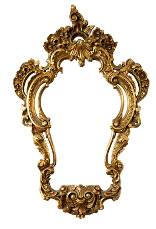 baroque picture frame: retro golden old frame a mirror, baroque style,  isolated on white  (clipping paths included)