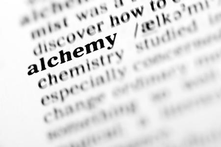alchemy (the dictionary project, macro shots, shallow D.O.F.) Stock Photo