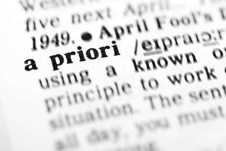priori: a priori  (the dictionary project, macro shots, shallow D.O.F.) Stock Photo