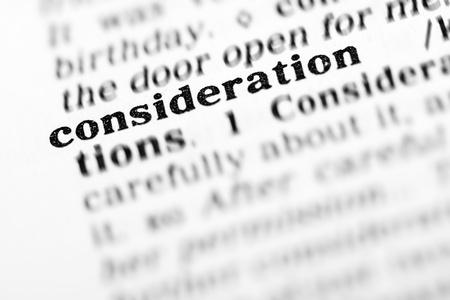 consideration: consideration (the dictionary project, macro shots, shallow D.O.F.) Stock Photo