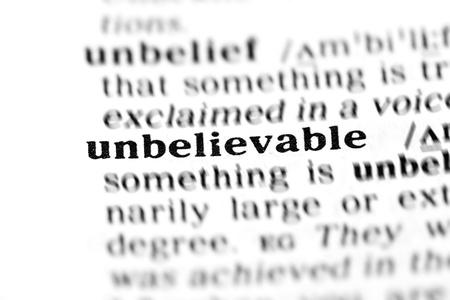 unbelievable: incre�ble (el proyecto de diccionario, tomas macro, shallow D.O.F.) Foto de archivo
