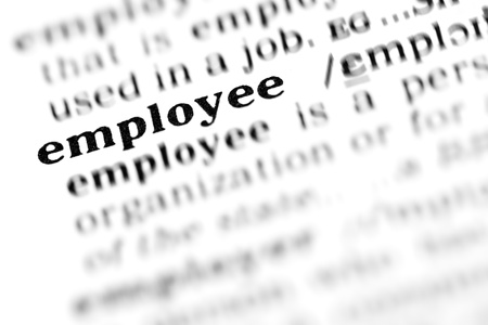 wor: employee (the dictionary project, macro shots, shallow D.O.F.)  - This is one of more than 500+ high quality, extreme macro shots of my dictionary project. They have all been digitally manipulated (contrast, tone, levels)  and the text around the main wor Stock Photo