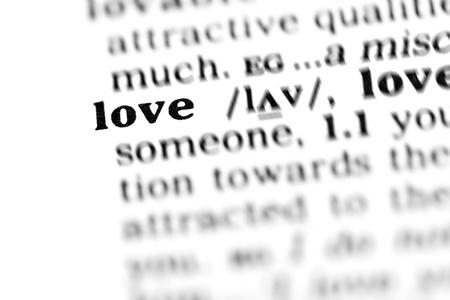 diccionarios: amor (proyecto de diccionario, tomas de macro, D.O.F. superficial)-  Foto de archivo