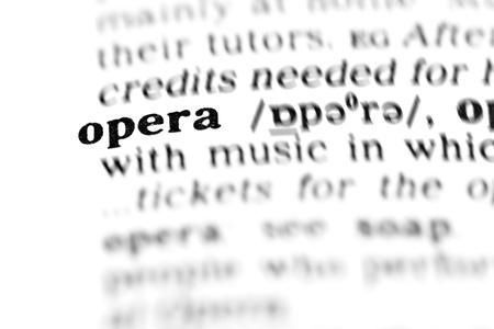 chanteur opéra: l'opéra (le projet de dictionnaire, prises de vue macro, shallow DOF) - Banque d'images