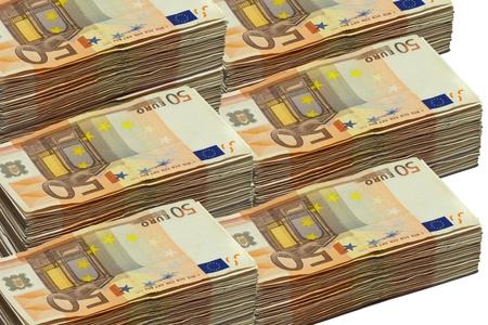 50 ユーロ紙幣、白で隔離されるスタック 写真素材