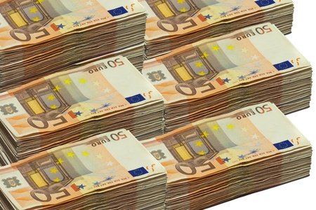 50 euro: Stacks of 50 euro bills, isolated on white Stock Photo