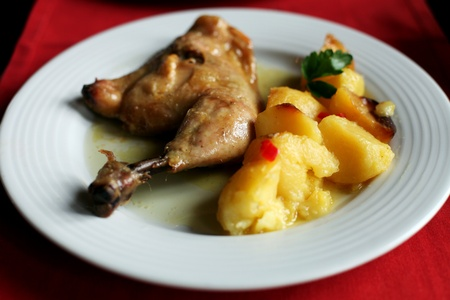 chicken leg and roasted potatoes, served on a white plate, (close up, using shallow depth of field) photo