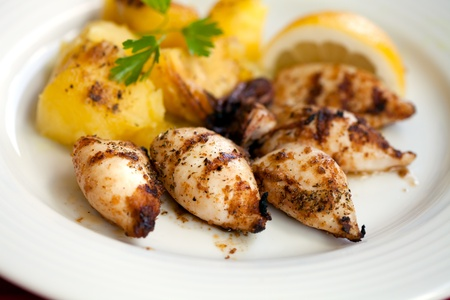 Delicious grilled squids  with potatoes, Greece Standard-Bild