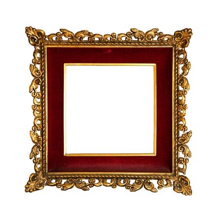 old  golden retro frame, with red velvet, baroque style Standard-Bild