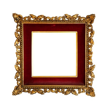 old  golden retro frame, with red velvet, baroque style Stock Photo