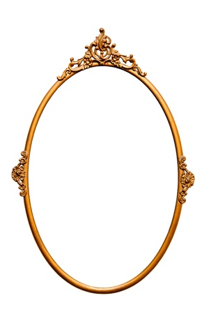 Golden retro mirror frame, isolated on white (clipping paths included) Stock Photo
