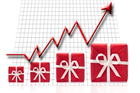 financial reward: Arrow going up,  gifts get bigger - success and reward concept