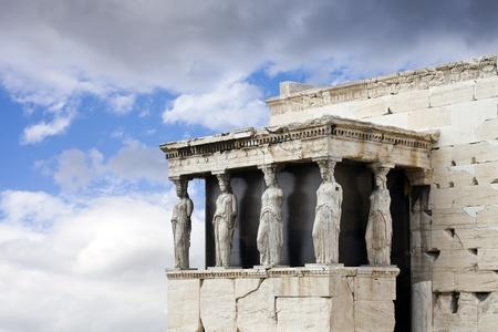caryatids: Caryatids at the Temple of Erechtheum, Acropolis, Athens, Greece