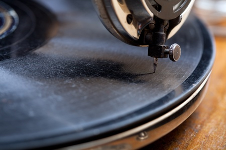 Close up of a very old gramophone