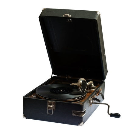 The sound of vintage...  Very old gramophone, isolated on pure white background (clipping paths included) photo