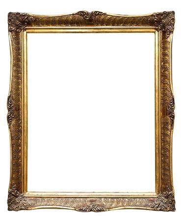 Baroque picture frame: Tr�s vieux r�tro vieux cadre dor�, isol� sur fond blanc