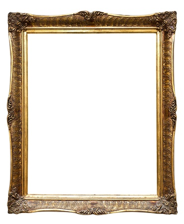 Very old retro golden old frame, isolated on white photo