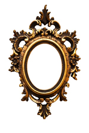 Very old retro oval  golden old frame, isolated on white (detailed clipping paths included, using pen tool at 200-300% view) (No#12) photo