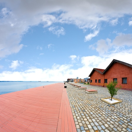 The old harbor of Thessaloniki, Greece, captured with fisheye lens