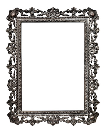 Old metallic picture frame  Stock Photo