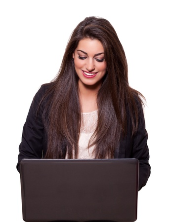 Beautiful young business woman with a laptop, smiling   (isolated on white background) Stock Photo - 11976108