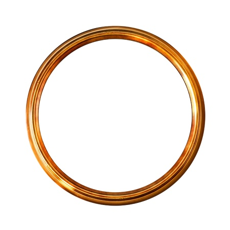 ゴールデン古い額縁、白で隔離されるラウンド クリッピング パス含まれている (No #17)