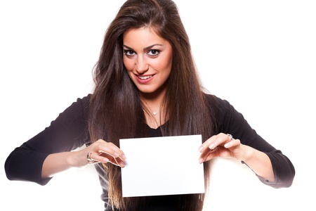 copyspace: Beautiful woman holding empty white board, on white background