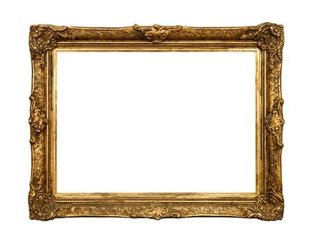 古いゴールデン レトロ ミラー フレーム (No #20) 白い背景で隔離 写真素材