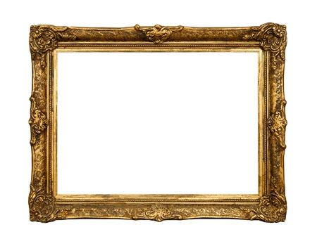 rectangle frame: Old golden retro mirror frame (No#20) isolated on white background