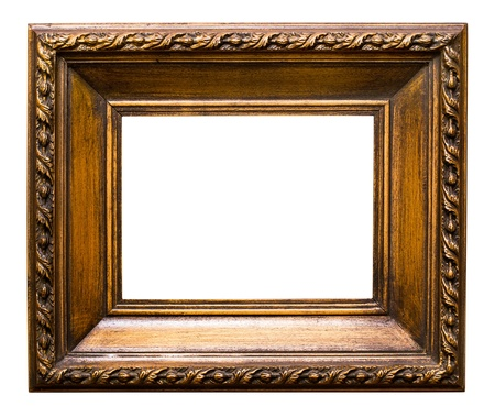 Old golden retro mirror frame  No 24  isolated on white background