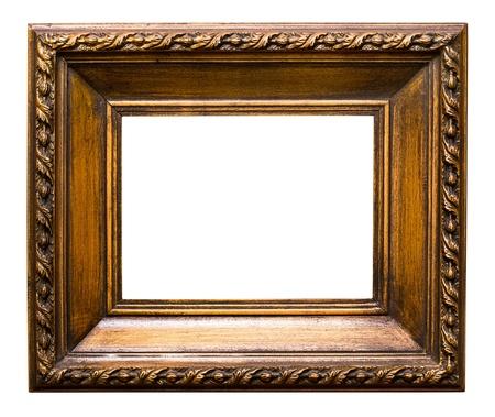mirror frame: Old golden retro mirror frame  No 24  isolated on white background