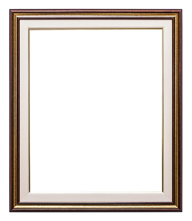 Old golden retro mirror frame (No#24) isolated on white background photo