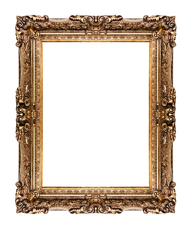 golden old frame isolated on white, No 26   clipping paths included  photo