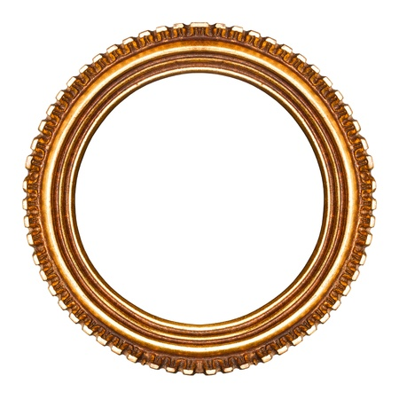 Old retro round wooden picture frame  No 22 ,isolated on white background  detailed clipping paths included  photo