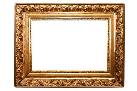黄金の古いフレームが含まれている白いクリッピング パス上に分離されて